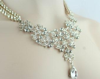 Bridal Necklace - Statement Bridal Jewelry - Chandelier Bridal Earrings - Crystal Bridal - Vintage Style - Rhinestone Bridal - Pearl Bridal
