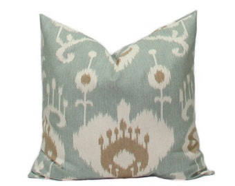 Ikat pillows Decorative Throw Pillow Covers Accent Pillows Cushion Covers 22 x 22 Inches Ikat Java Spa