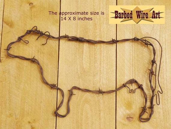 Cow handmade metal decor barbed wire art country western