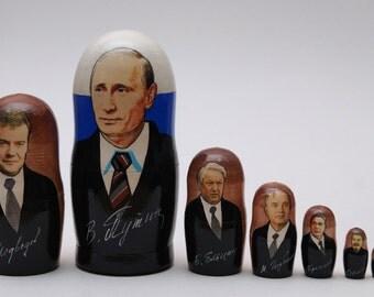 Russian politicians leaders Putin, Eltsyn, Gorbachev, Stalin, Lenin Matryoshka babushka russian nesting doll 7 pc Free Shipping free gift