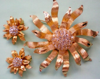 BSK Flower Brooch and Matching Clip Earrings - 3701