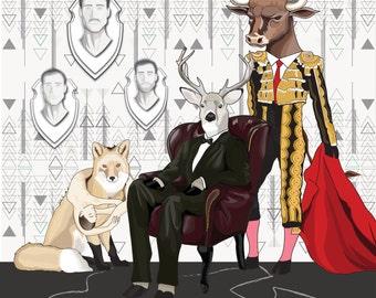 "Original digital illustration print: ""Hunter's Gala"", 10"" x 10"""