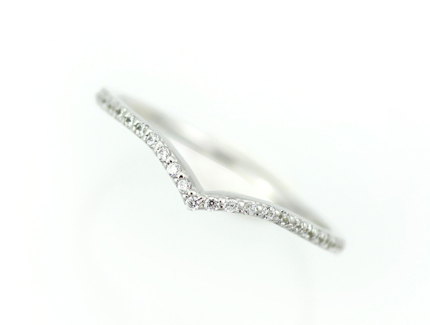 Diamond Wedding Band White Gold Stacking Ring Thin