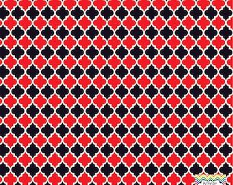 Red and black quatrefoil craft  vinyl sheet - HTV or Adhesive Vinyl -  quarterfoil pattern HTV1438