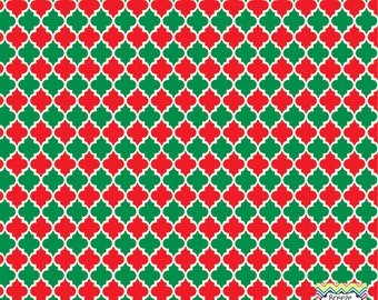 Red and green quatrefoil craft  vinyl sheet - HTV or Adhesive Vinyl -  quarterfoil pattern Christmas HTV1439
