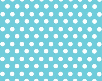 Aqua with white polka dot pattern craft  vinyl sheet - HTV or Adhesive Vinyl -  medium polka dots HTV1606