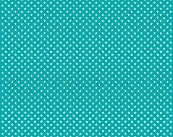 Teal with white mini stars craft  vinyl sheet - HTV or Adhesive Vinyl -  star pattern HTV2402