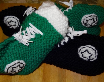 Handmade Knit Converse Inspired Slippers - Made to Order