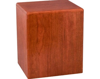 Cherry Cube Wood Cremation Urn
