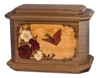 Walnut Butterfly Octagon Wood Cremation Urn