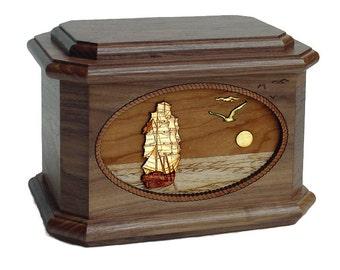 Walnut Sail Ship Octagon Wood Cremation Urn
