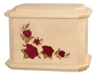 Maple Octagon Roses Wood Cremation Urn