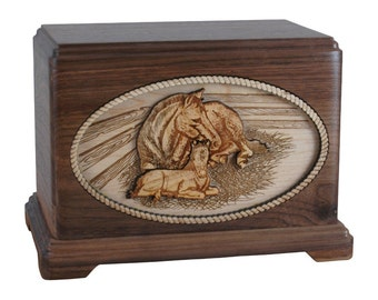 Walnut Horse Companion Hampton Wood Cremation Urn