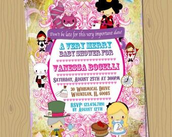 Alice in Wonderland Baby Shower Invitation. Digital File, Your Print - 5x7