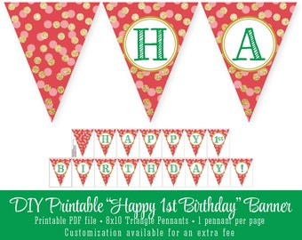 Printable DIY Happy 1st Birthday Pennant Banner - Red ...