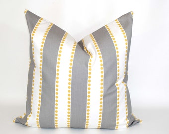 20% OFF SALE Gray pillow covers, Decorative pillows,  Yellow and grey pillow, stripe pillow , Lumbar pillow , Euro sham , all sizes