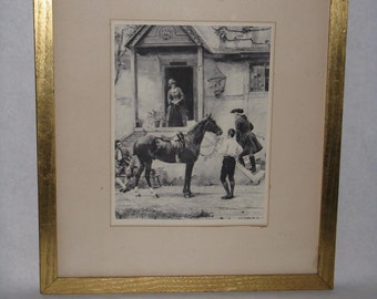 "Antique photogravure G G Kilburne ""Good Accommodations for Man and Beast"" 1800's print lithograph England"