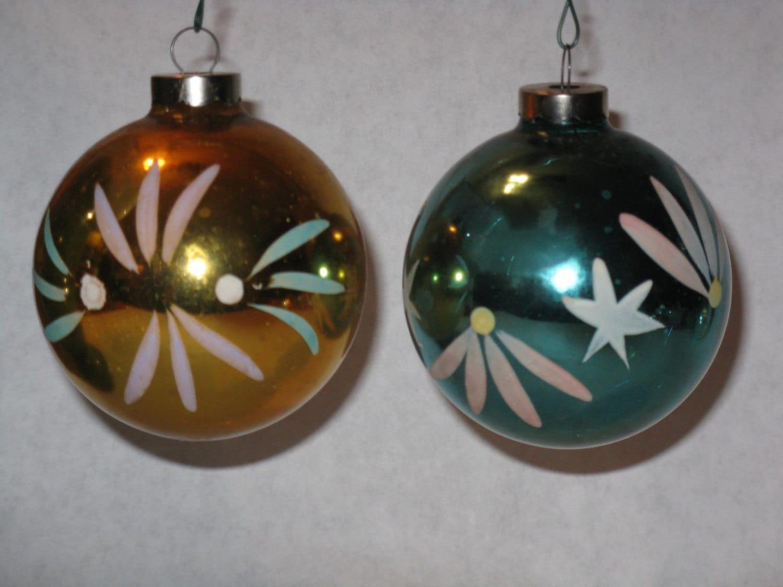 Pair Vintage Glass Christmas Tree Ornaments Gold Blue Usa