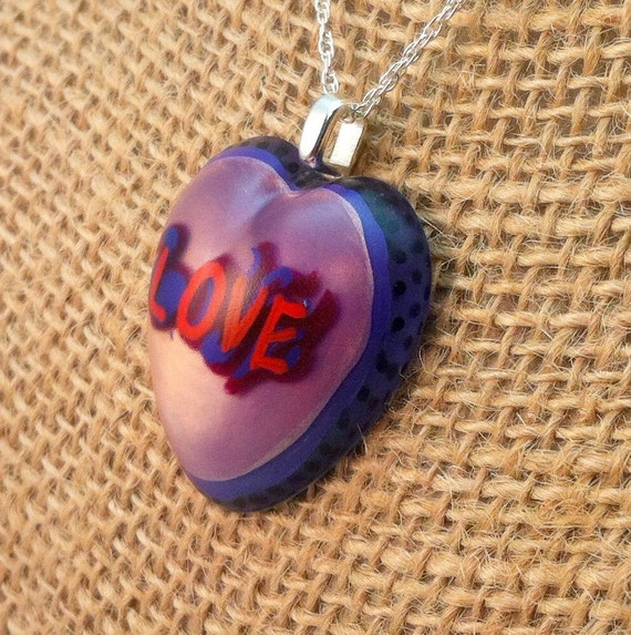 """Hand painted resin heart shaped pendant - """"LOVE""""  - Multi-layer acrylic painting"""