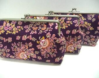 Purple Bridesmaid Clutch Set of 5, Vintage Style Clutch set of 3, Fun Floral Purse, Bridesmaid Clutch