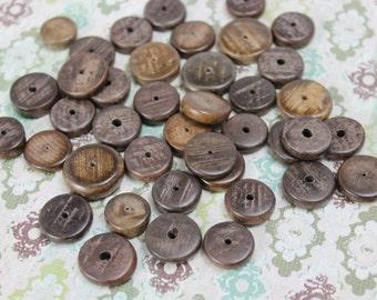 Vintage Natural Greywood 18mm Saucer Bead (26 Pieces)