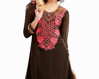 Ladies  Top Tunic Blouse Kurta Kurti  brown georgette maroon foral  Embroidered  Kurti kurta tunic