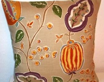 "Sanderson FANTASY GARDEN fabric pillow cover, cushion cover, 16"" x 16"" (41cm x 41cm)"