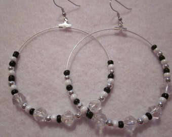 Black White & Silver Hoop Earrings