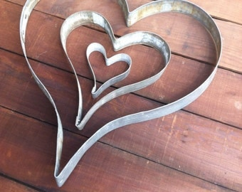Heart Trio of Love  | Giant Cookie Cutters | Valentines Day Gift | Handmade From Recycled Wine Barrel Metal