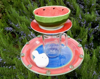 Bird Feeder, Garden Whimsy, Watermelon, Upcycled Garden Art,                  Repurposed, Garden Totem, Decorative Bird Feeder – County Fair