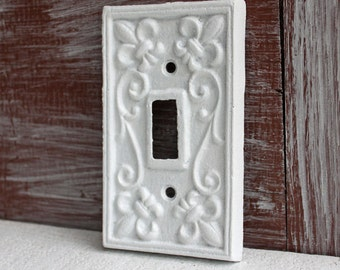 White Light Switch Plate, Single Lightswitch cover, Cast Iron Fleur de lis Decor  Switchplate Cover, Light Switch Cover, White Wall Decor