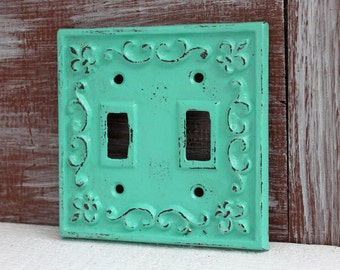 Double Light Switch Cover, Light Switch Plate, Switch Plate Cover, Cast Iron Fleur de lis Decor, Lightswitch Plate, Aqua Turquoise Green