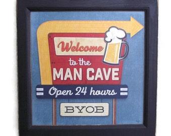 Welcome, BYOB, Funny Sign, Art Print, Beer Lovers, Man Cave, Bar Decor, Wall Hanging, Handmade, 14X14, Custom Wood Frame, Made in the USA.