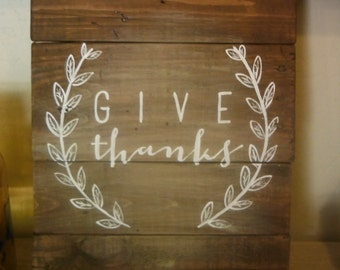 """Give Thanks Wooden Pallet Sign/Dark Brown 12x16""""/Thanksgiving/Fall Decor"""