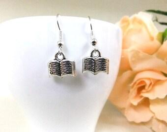 Cute Silver Book Earrings, Small Earrings, Silver Earrings, Gift, Booklovers, Simple Earrings, Small Gift