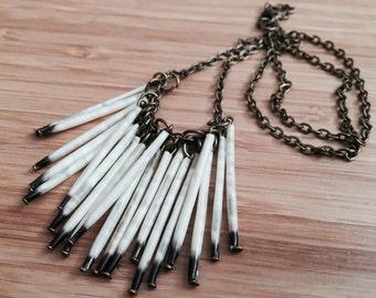 Antique bronze quill necklace