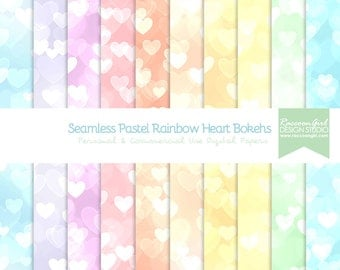 50% OFF Seamless Pastel Rainbow Heart Bokeh Digital Paper Set - Personal & Commercial Use
