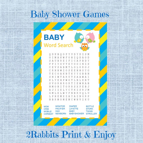shower word search game gender neutral baby shower crossword puzzle