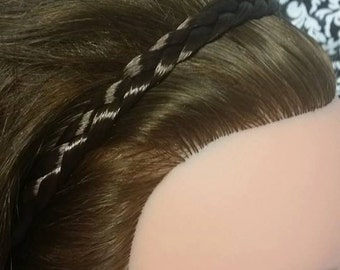 Brown hair braided headband