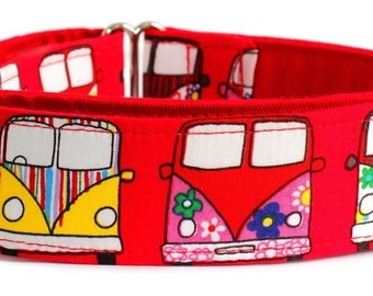 "Noddy & Sweets Adjustable Martingale Collar [1"", 1.5"", 2"" Camper Van Red]"