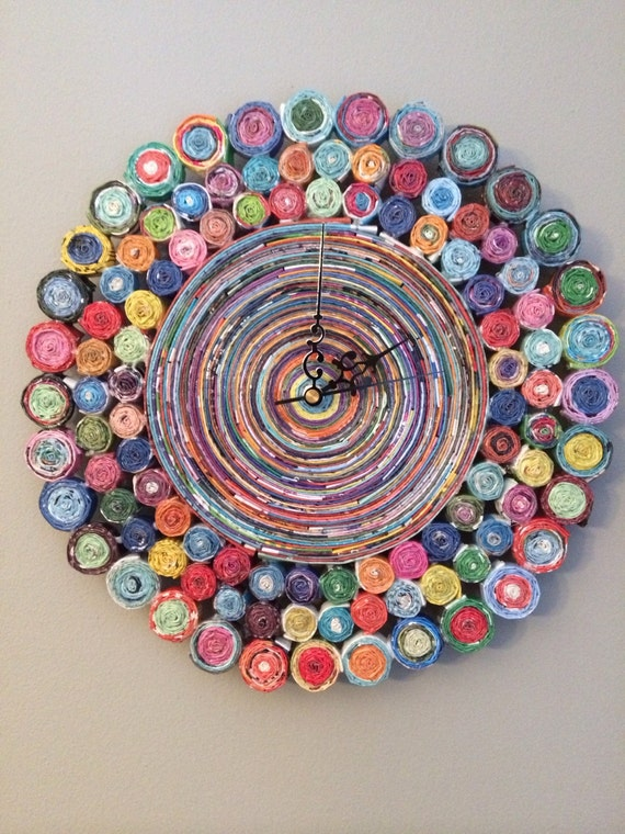 Diy Wall Decor With Recycled Newspaper : Inch rolled paper wall clock colorful recycled magazine