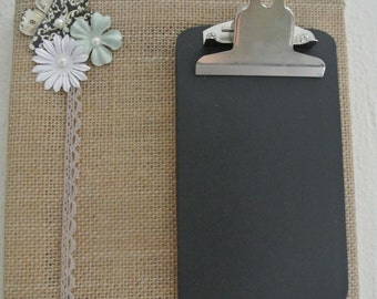 Chalkboard Burlap Message Board