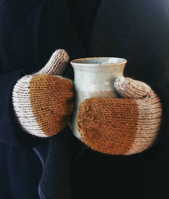 Colorblock Mittens in Midas - Rustic Handknit Wool