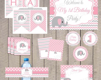 INSTANT DOWNLOAD, Elephants Birthday Printable Package, First Birthday, Pink and Grey, Chevron, Polka Dots, Girl 1st Birthday Party - 5030