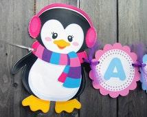 Penguin Banner, Winter ONEderland Banner, Penguin Birthday Banner