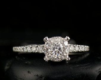 Diamond Halo Engagement Ring, 100% All Natural & Conflict Free Diamonds, Cluster Style, Tapered Band with Prong Set Diamonds, Louise