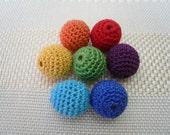 Crochet beads 7 PCS 18 mm  Light green Necklaces Wooden crochet 100% cotton beads Crocheted bead Round beads