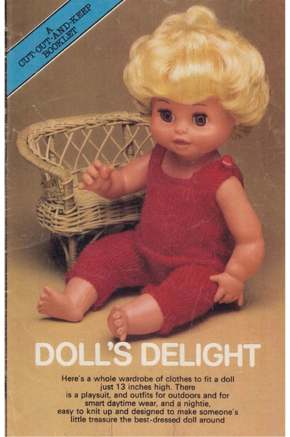 Knitting Patterns For 13 Inch Dolls : A vintage knitting pattern for 13 inch Dolls outfits. Knitted