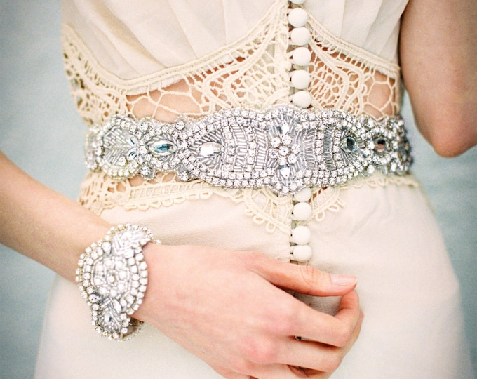 Bridal Sash/ Bridal Belt - Rhinestone Sash/ Rhinestone Belt - Vintage Wedding Accessories - Rhinestones and Pearls Collection - Style BB 142