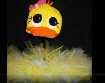 Crochet baby duck hat with matching tutu, baby tutu outfit,duck outfit, duck hat, yellow tutu outfit,